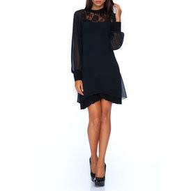 Suknele sifonine su azuru juodos spalvos