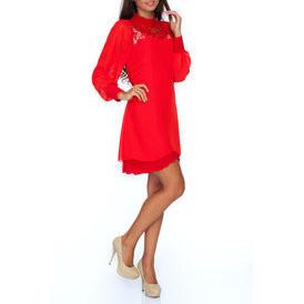 Suknele sifonine su azuru raudonos spalvos