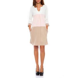 Suknele trispalve balta  sviesiai rozine  smelio