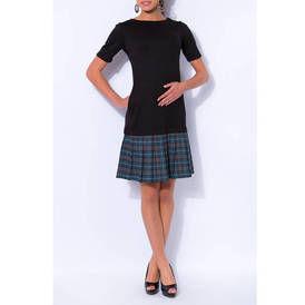 Juodas suknele su klostuotu sijonu pilku melynu
