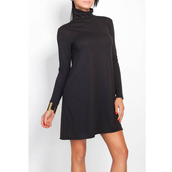 Suknele paltejanti su kaklu juodos spalvos
