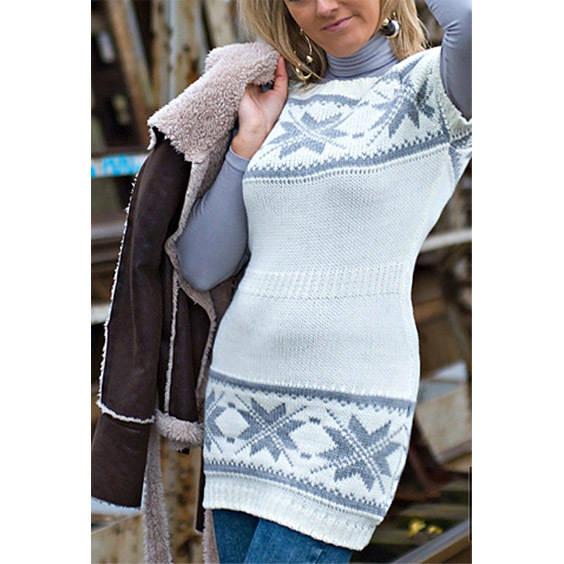 Megztinis su norvegisku rastu baltas