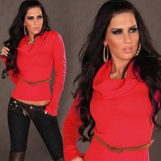 Megztinis su kaklu  parauktomis rankovemis raudonos spalvos