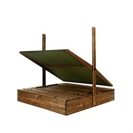 Smėlio dėžė su suoliukais stogeliu